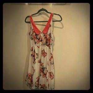 Floral cream/coral dress